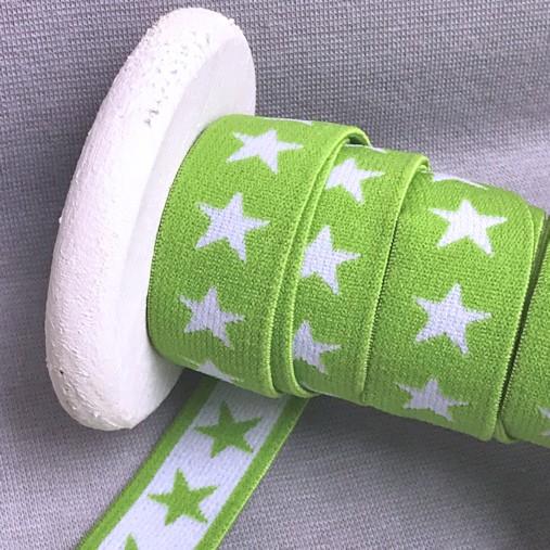 Gummiband SCHMAL Sterne, 2cm, lime, hellgrün